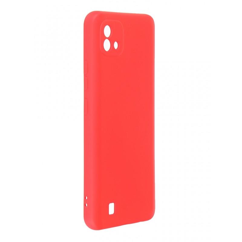 Чехол DF для Realme C20 с микрофиброй Silicone Red rmOriginal-10