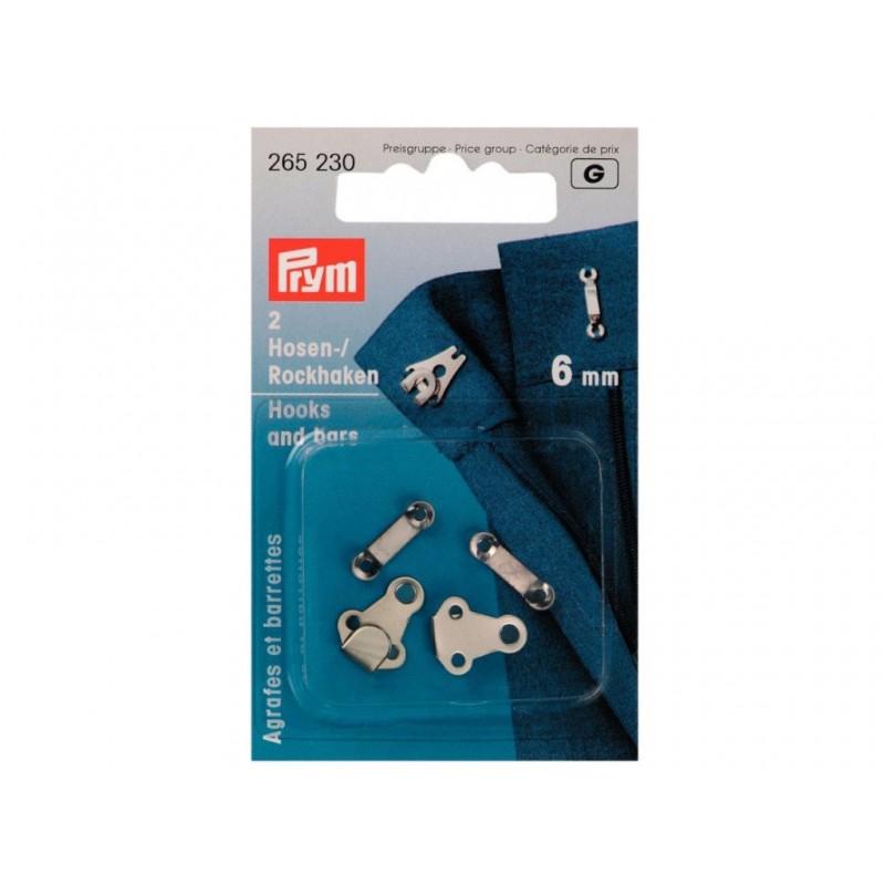 Крючки для брюк и юбок Prym 6mm 2шт Silver 265230