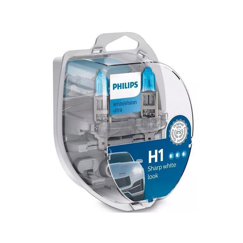 Лампа Philips WhiteVision Ultra H1 12V- 55W (P14.5s) 2шт 12258WVUSM