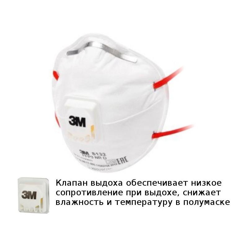 Защитная маска 3M 8132 класс защиты FFP3 NR D (до 50 ПДК) с клапаном выдоха 7100020181