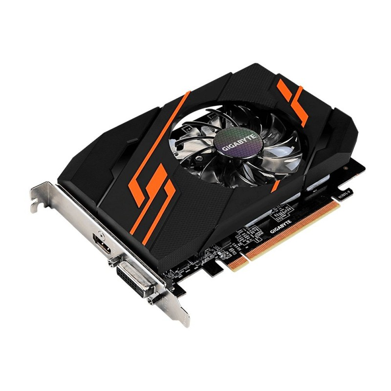 Видеокарта GigaByte GeForce GT 1030 1265Mhz PCI-E 2048Mb 6008Mhz 64 bit DVI HDMI HDCP Ret GV-N1030OC-2GI