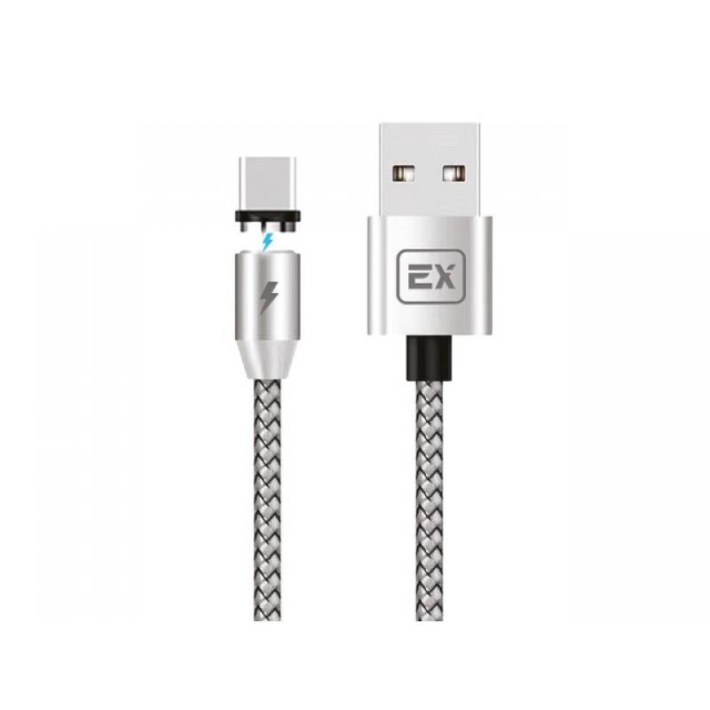 Аксессуар Exployd Classic Magnetic USB - Type-C 2m Silver EX-K-956