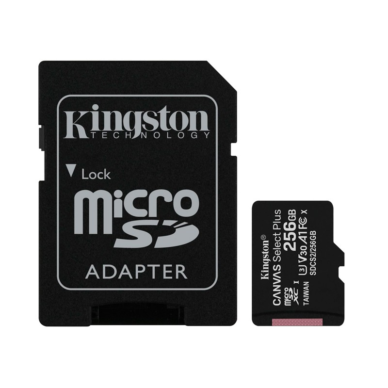 Карта памяти 256Gb - Kingston Micro Secure Digital HC Class10 UHS-I Canvas Select Plus SDCS2/256GB с переходником под SD