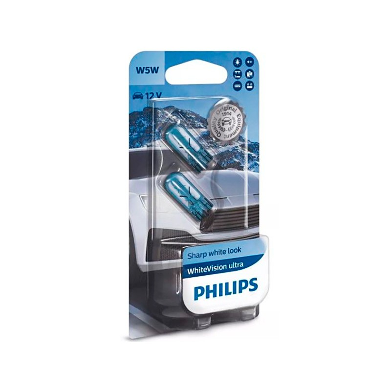 Лампа Philips WhiteVision Ultra W5W 12V-5W (W2.1x9.5d) 2шт 12961WVUB2