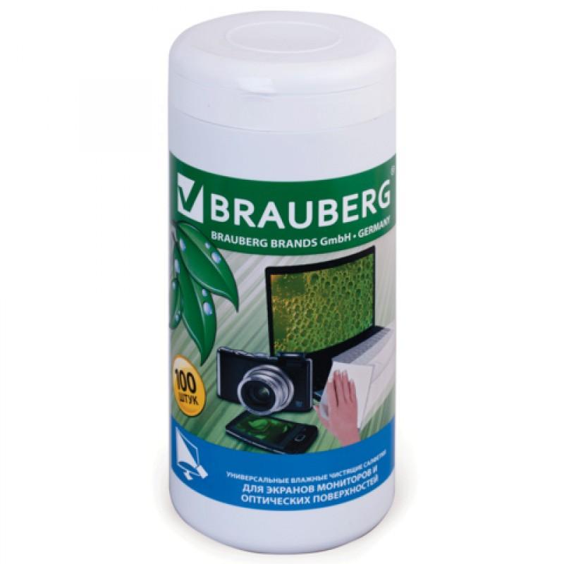 Чистящие салфетки Brauberg 100шт влажные 510122 для монитора