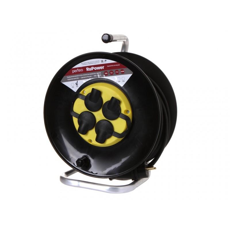 Удлинитель на катушке без заземления Perfeo RuPower 4 Sockets 30m Black PF_C3371