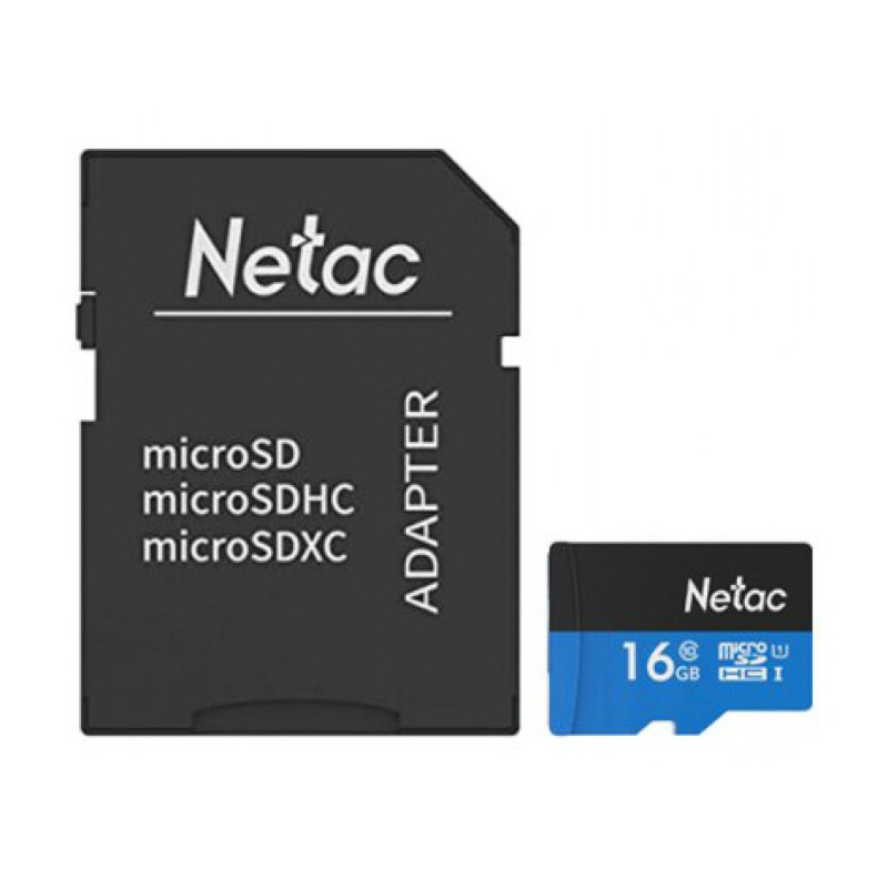 Карта памяти 16Gb - Netac microSDHC P500 NT02P500STN-016G-R с переходником под SD