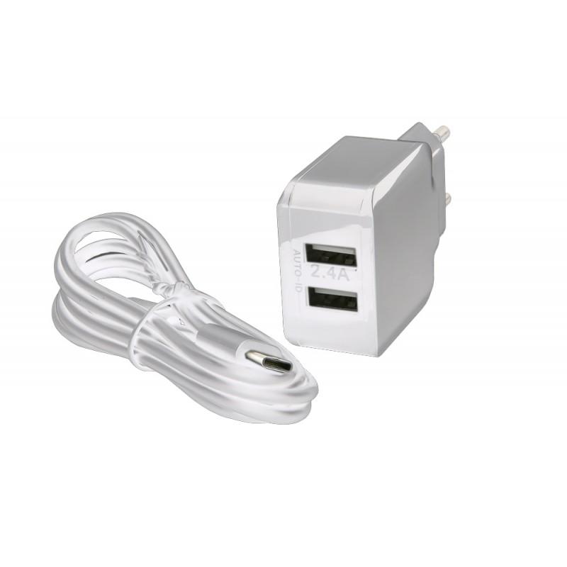 Зарядное устройство Red Line NC-2.4A 2xUSB 2.4A + кабель Type-C White УТ000013633