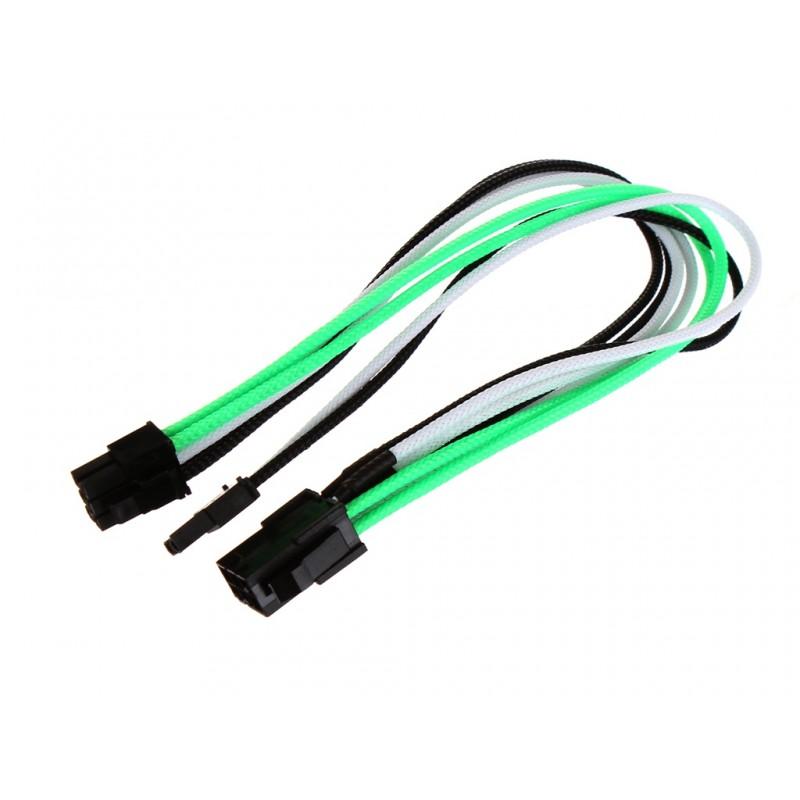 Аксессуар Переходник Nanoxia 6-pin PCI-E - 8-pin (6+2) 30cm Green-White-Black NXP683EGWS